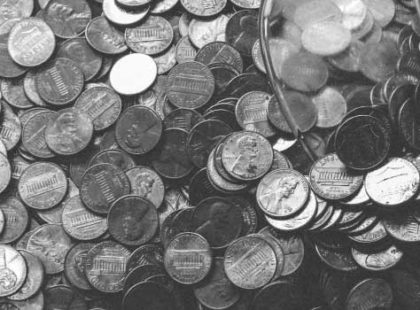 scattered coins black white